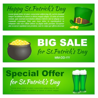 Saint patricks day banners with hat, pot and beer.