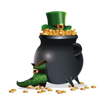 聖パトリックスの日のブート帽子のコイン