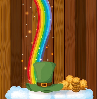 聖パトリックの日カード、lemprechaun帽子、木製の背景