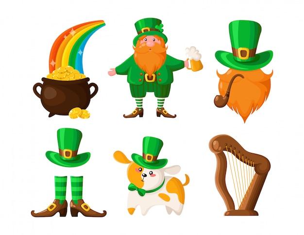 Saint patricks day cartoon leprechaun, pot of gold coins, dog or puppy in green hat, smoking pipe, bowler hat, harp, boots