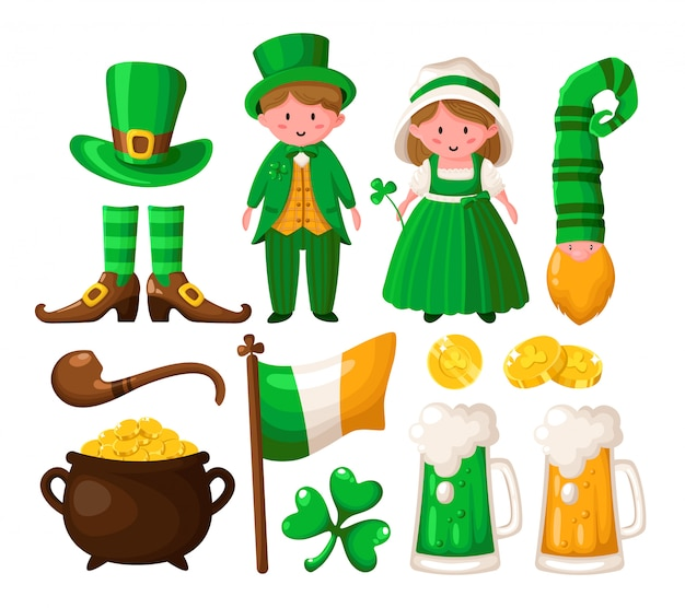 Saint patricks day cartoon shamrock, leprechaun, pot of gold coins, cute boy and girl in green retro costumes