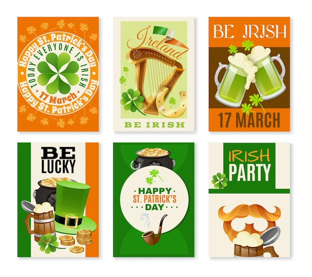 Saint patricks day celebration banners set