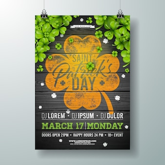Saint patricks day celebration party flyer illustration with clover on vintage wood background.