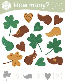 Saint patricks day counting game with holiday symbols. spring math activity for preschool children. how many objects worksheet. educational riddle with cute funny pictures