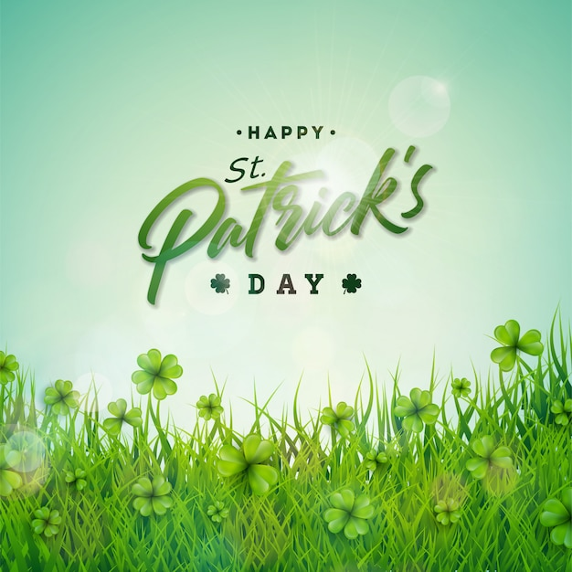 Saint patricks day design with green clovers field