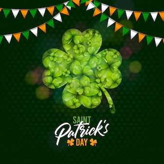 Saint patricks day design with shamrock and flag on green clover background. irish beer festival celebration holiday illustration for greeting card