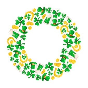 Saint patricks day frame  cartoon round compositon with shamrcock or clover leaves, golden coins