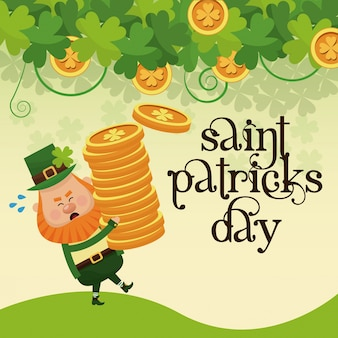 Saint patricks day leprechaun carrying pile coins gold lettering poster