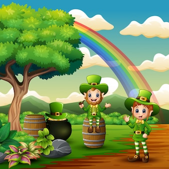 Saint patricks day leprechaun celebrate on the nature