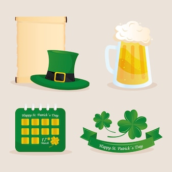 Saint patricks day lettering in ribbon with set icons  illustration