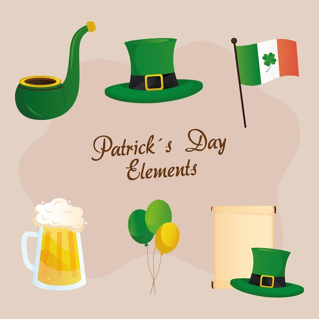 Saint patricks day lettering and set icons  illustration