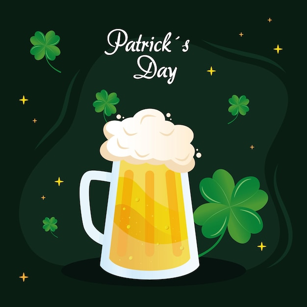 Saint patricks day lettering with beer jar and clovers  illustration