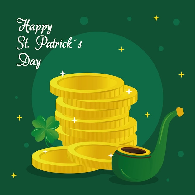 Saint patricks day lettering with pipe and coins  illustration