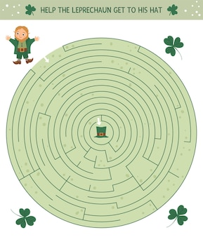 Saint patricks day maze for children. preschool irish holiday activity. spring puzzle game with cute elf and shamrock. help the leprechaun get to his hat.