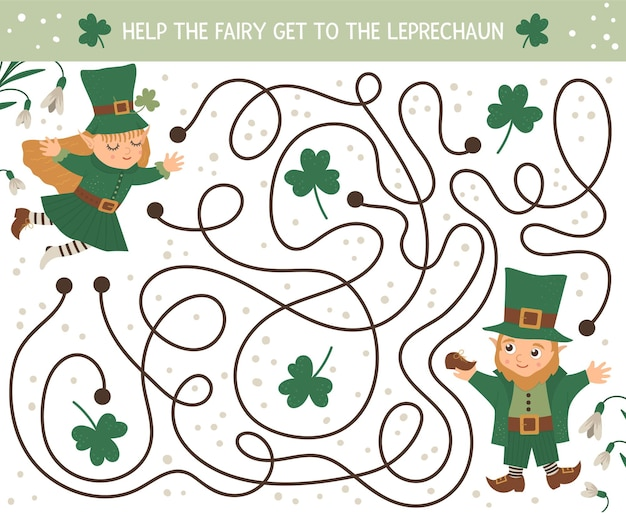 子供のための聖パトリックの日の迷路。就学前のアイルランドの休日の活動。かわいいエルフと妖精の春パズルゲーム。妖精がレプラコーンに着くのを手伝ってください。