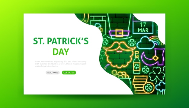 Saint patricks day neon landing page. vector illustration of holiday promotion.