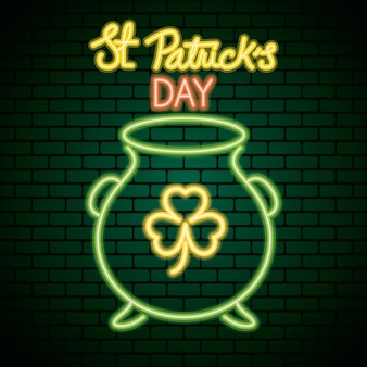 Saint patricks day neon light with clover in cauldron  illustration
