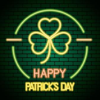 Saint patricks day neon light with clover leaf  illustration