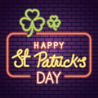 Saint patricks day neon light with clovers in wall  illustration