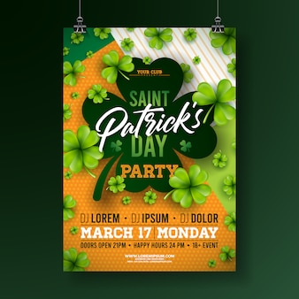 Saint patricks day party flyer with clover and typography