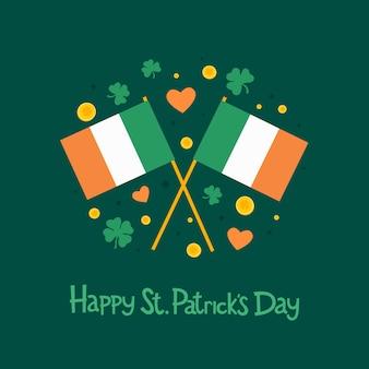 День святого патрика. изображение двух ирландского флага, листьев клевера, сердца и надписи: «с днем святого патрика» на зеленом фоне. иллюстрация.