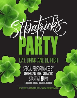 Saint patricks day poster design background. calligraphic lettering inscription happy st patricks day.  illustration