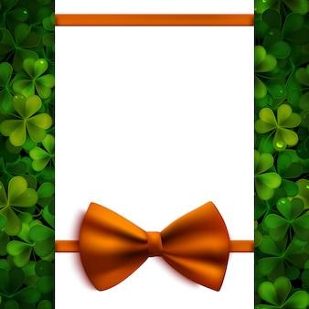 Saint patricks day, realistic shamrock leaves and orange bow