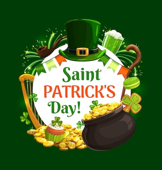 休日のシンボルの聖パトリックの日中のフレーム。レプラコーンの帽子、ビールと花輪、木の棒とクッキー。金の宝物とカップケーキ、金のハープ、シャムロッククローバー、花火の鍋