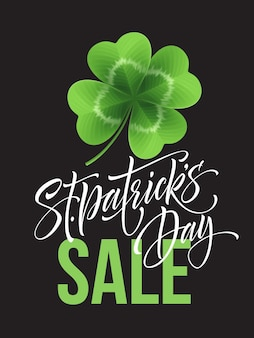 Saint patricks day sale poster. lettering typography banner template.  illustration