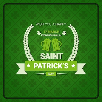 Saint patricks day sign on retro poster holiday green vintage background