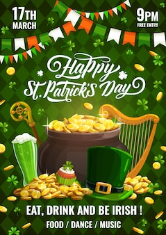 Saint patricks day spring holiday feast poster