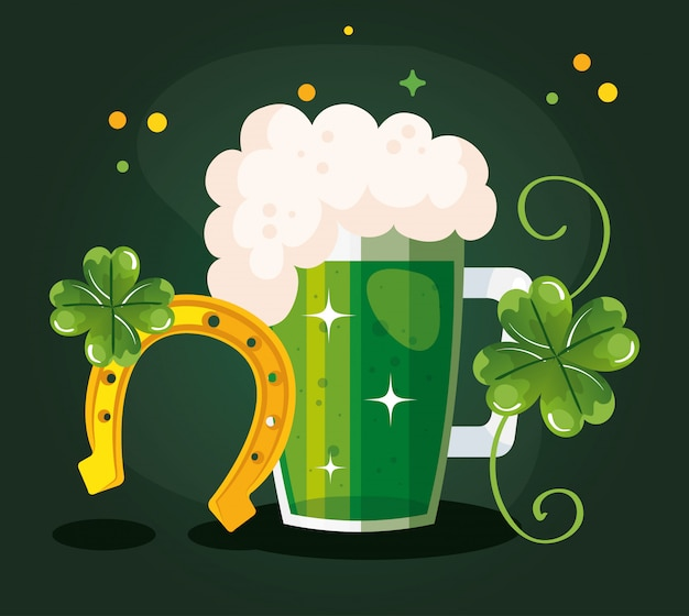 Saint patricks day with beer and decoration