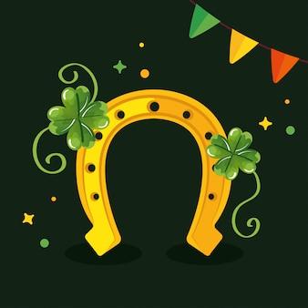 Saint patricks day with horseshoe and decoration