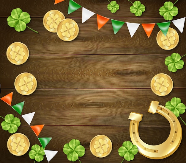 Saint patricks day wooden background