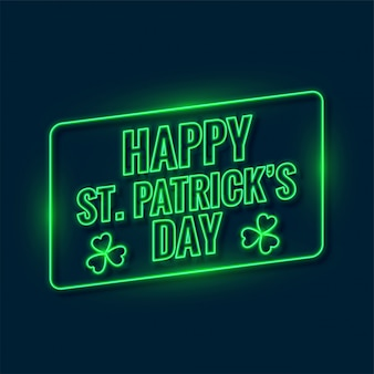 Saint patricks day written in neon light