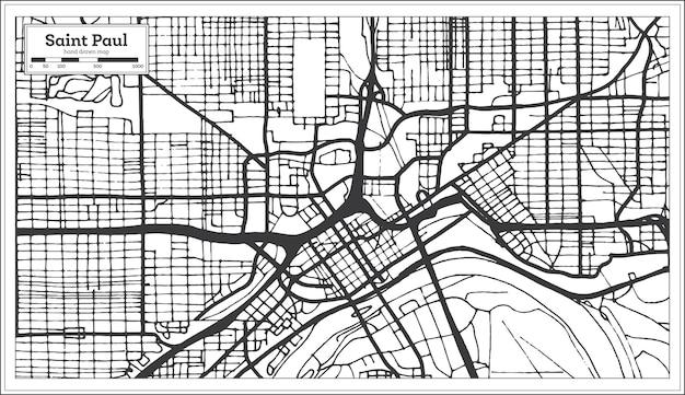 레트로 스타일의 세인트 폴 미네소타 미국 도시 지도. 개요 지도. 벡터 일러스트 레이 션.