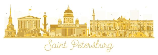 サンクトペテルブルク市のスカイラインの黄金のシルエット。ベクトルイラスト。出張の概念。ランドマークのあるサンクトペテルブルクの街並み
