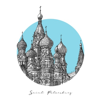 Saint petersburg, hand drawn architecture sketch
