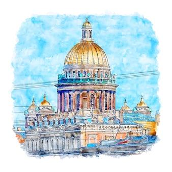 Санкт-петербург россия акварельный эскиз рисованной иллюстрации