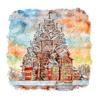 Saint petersburg russia watercolor sketch hand drawn illustration