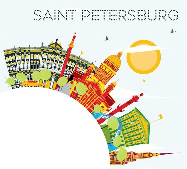 Горизонт санкт-петербурга с цветными зданиями, голубым небом и копией пространства. векторные иллюстрации. деловые поездки и концепция туризма. изображение для презентационного баннера и веб-сайта.