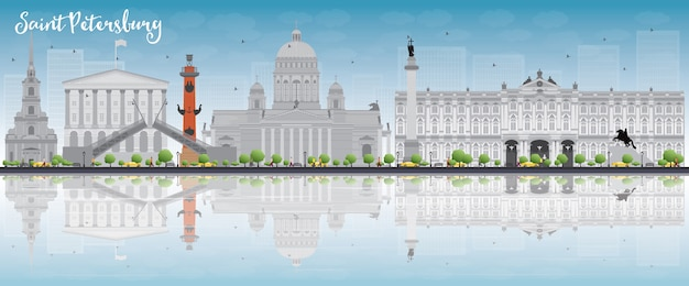 Saint petersburg skyline with grey landmarks, blue sky and copyspace
