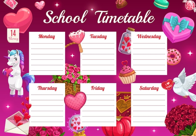 Saint valentine day children school timetable with unicorn and holiday gifts