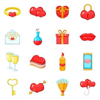 Saint valentine day icons set