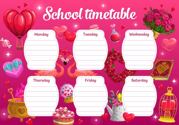 Saint valentine day school timetable with romantic gifts and love potions