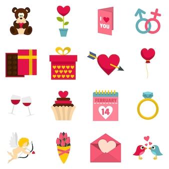 Saint valentine icons set in flat style