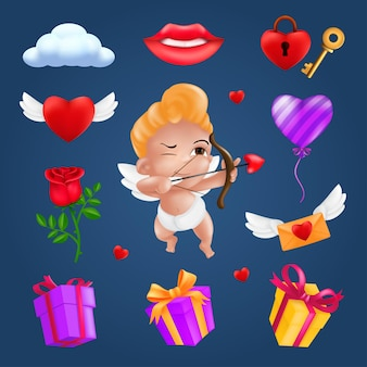 Saint valentine's day icons set - little angel or cupid, flying heart with wings, red rose flower, pink balloon, gift box, letter, padlock, key, smiling lips, cloud.