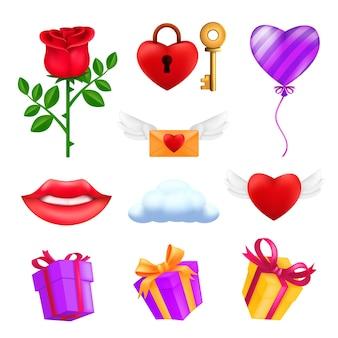 聖バレンタインデーのアイコンセット-赤いバラの花、空飛ぶハート、ピンクの風船、ギフトボックス、封筒、鍵付き南京錠、笑顔の唇、雲。