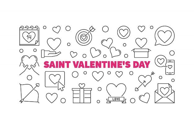 Saint valentine's day outline horizontal illustration