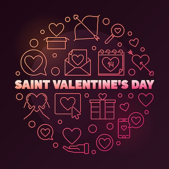 Saint valentine's day round colored linear illustration